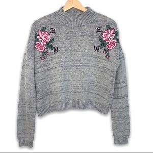 Cloud Chaser Rose Appliqué Crop Grey Sweater